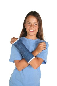 Young girl with broken arm.